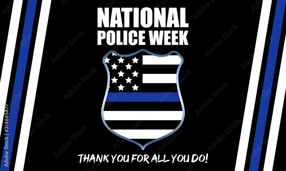 Fototapeta National Police Week. Celebrated in the United States in May. Police Officers Honor and Memorial Day. Poster, card, banner, background design.
