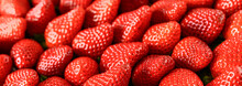 Strawberries Red Background. F...