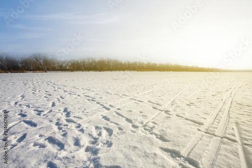 Fotografie, Tablou  snowbound plain scene at the sunset