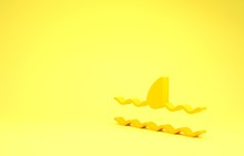 Yellow Shark Fin In Ocean Wave Icon Isolated On Yellow Background. Minimalism Concept. 3d Illustration 3D Render
