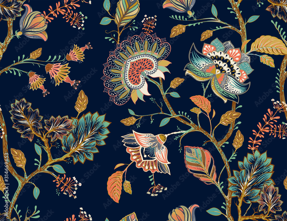 Colorful seamless vector pattern with decorative flowers and plants. Indian style, indonesian batik. Dark floral wallpaper, vector clipart. Design for fabric, textile, background, shawl, cover, rug