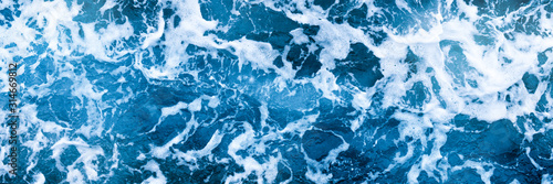 Fotografie, Obraz Aerial view of salt ocean foam and waves