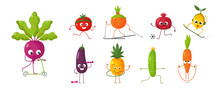 Cartoon Vegetables And Fruits With Emotions Play Sports. Vector Illustration