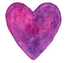 Purple-pink Heart In Watercolo...