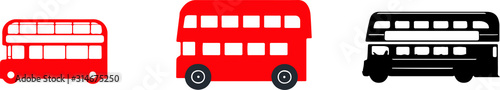 Photo  double decker bus icon isolated on background