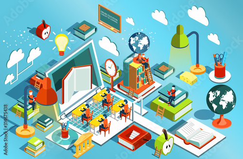 Fototapeta Online education Isometric flat design. The concept of learning and reading books in the library and in the classroom. University studies. Vector illustration obraz na płótnie
