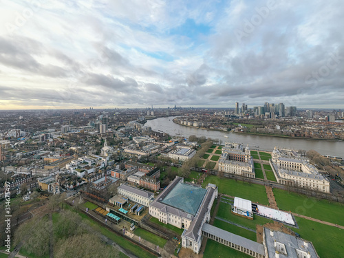 Tablou Canvas Greenwich district aerial view with Cutty Sark and the Isle of Dogs