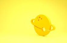 Yellow Planet Icon Isolated On Yellow Background. Minimalism Concept. 3d Illustration 3D Render