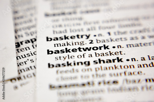 Word or phrase basketwork in a dictionary. Canvas Print