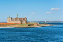 Danish Harbour Of Helsingor With Kronborg Castle In The Backgroundin Sunny Day