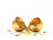 Golden Broken Egg Shell Full Of Coins Isolated On A White Background. 3D Illustration