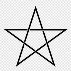 Illustration of a Pentagram, a five-pointed star. Esoteric or magic symbol of Occultism and Witchcraft. Isolated on transparent background, vector