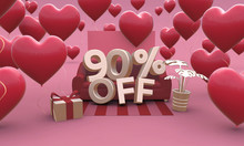 90 Ninety Percent Off - Valentines Day Sale 3D Illustration.