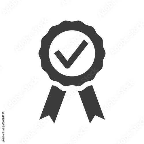 Photo Certified medal icon on white background.
