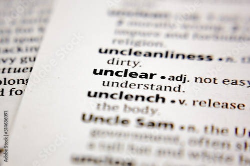 Word or phrase unclear in a dictionary. Canvas Print