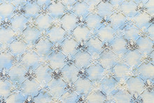 Background Of Blue Wooden Vintage Wall With Floral Royal Lily Emboss Details