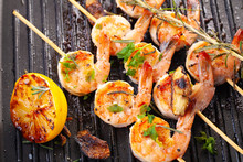 Grilled Shrimp On Skewers. Gri...