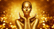 Gold Skin, Beautiful Woman holding Golden Beauty in Hands, Fashion Body Art Make Up