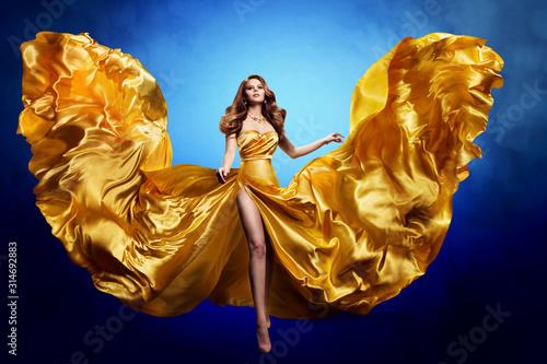 Woman Gold Silk Dress, Fashion Model Beauty, Blowing Waving Gown, Cloth Flutt...