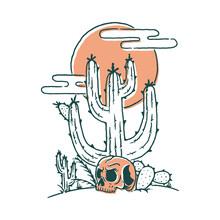 Skull Cactus Desert Graphic Illustration Vector Art T-shirt Design