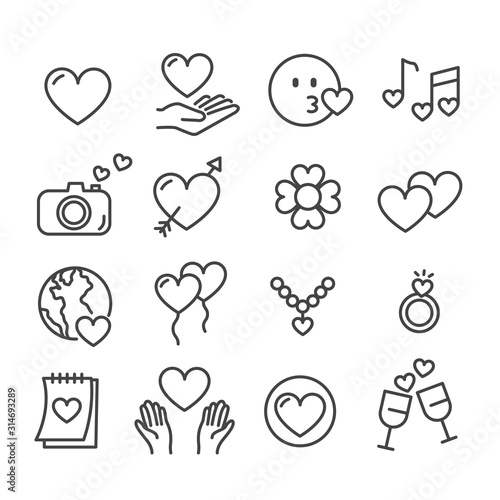 Obraz Set of love or heart symbol for Valentine's day icon isolated. Modern outline on white background - fototapety do salonu