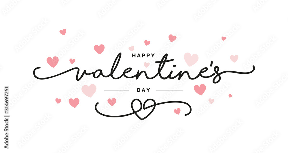 Fototapeta Valentines Day black handwritten typography with pink hearts isolated white background