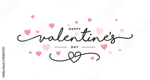 Valentines Day black handwritten typography with pink hearts isolated white back Tablou Canvas