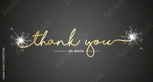 Thank You handwritten lettering tipography sparkle firework gold white black bac Wallpaper Mural