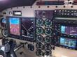 Dashboard view of a modern aircraft during flight