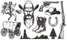 Vintage Wild West Elements Set