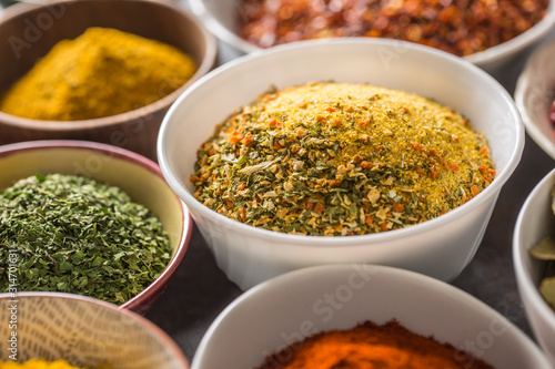 Vegeta and variety spices and herbs in bowls Wallpaper Mural