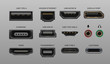 Connector and ports. USB type A and type C, video ports hand drawnMI DVI and Displayport, audio coaxial, thunderbolt and lightning vector ports, universal elements pc connectors