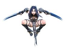 Warrior Amazon Woman With Metal Blade.
