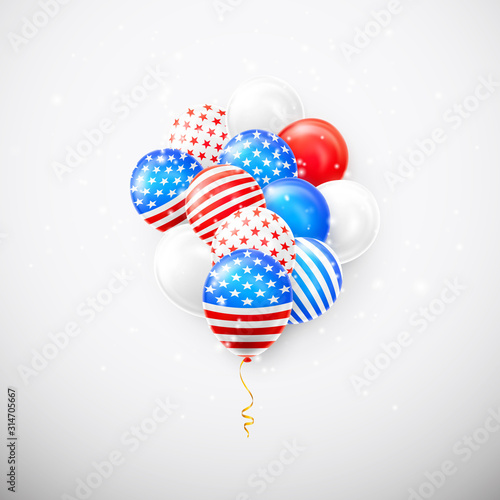 Cuadros en Lienzo Helium balloons with American flag isolate on white background