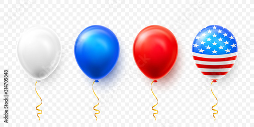 Fotografía Helium balloons with American flag isolate on white background