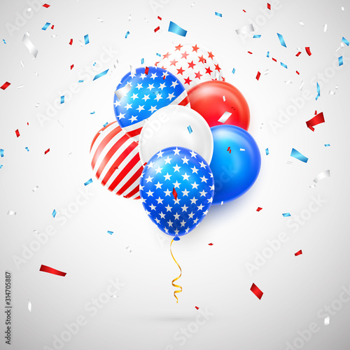 Fotomural Helium balloons with American flag isolate on white background