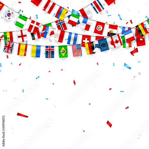 Cuadros en Lienzo Colorful flags garland of different countries of the europe and world with confetti