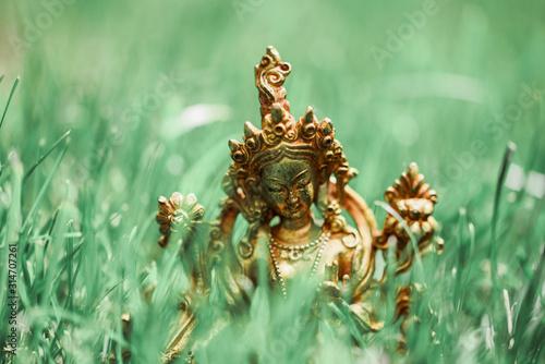 Fototapeta Figure of a female Buddhist deity (Green Tara) sitting on a lawn  obraz
