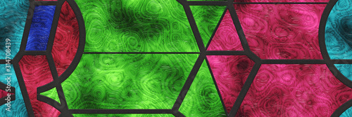 Cuadros en Lienzo  3d stained glass- abstract mosaic architecture