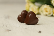 Chocolate Praline Candy Hearts For Valentines Day
