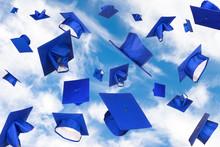 Graduation Caps In Flight