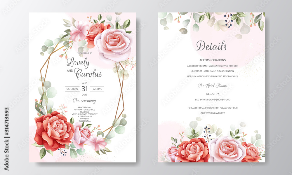 Fototapeta Beautiful floral frame wedding invitation card template