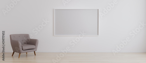 Fotografía  Horizontal blank picture frame in empty room with white wall and armchair on wooden parquet