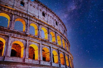 Obraz na Szkle Miasta Roman Colosseum at Night with Stars