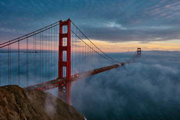 Golden Gate bridge in San Francisco just after sunset