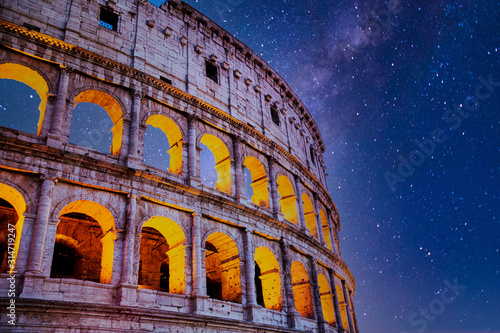 Fotografie, Obraz Roman Colosseum at Night with Stars