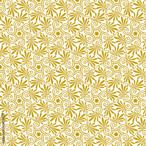 Vector seamless floral antique greek gold pattern 9 Canvas Print
