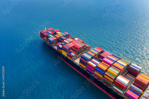Tablou Canvas Aerial view of container cargo ship in sea.