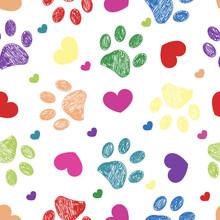 Doodle Colorful Paw Prints Wit...