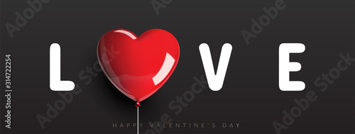 Fototapeta Love banner, Happy valentine's day, Heart shaped balloon with rope on black background. Vector illustration. obraz